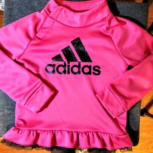 Adidas- Pink/Black Ruffle Button Up Pullover